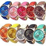 Yunanwa 10 Pack Unisex Tally Style Silicone Watch Women Men Leather Belt Gold Sport Watch