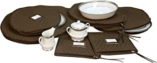 6 Pieces of Fine China Dinnerware Accessory Storage Set - Deluxe Quilted Plush Microfiber - Contents Label Window - Protect Your Valuable China Dishes from Dings, Scratches and Cracks - Brown