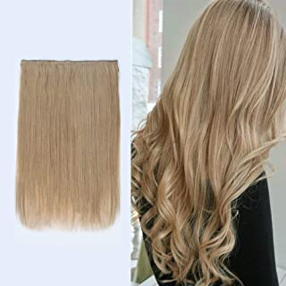 Lovrio 20 inch 120g Halo Human Hair Extensions Thick, Colored 12 Dark Dirty Blonde, Remy Human Hair Fish Line Extensions N...