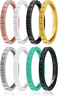ROQ Silicone Wedding Ring For Women, Set of 8 Thin Stackable Silicone Rubber Wedding Bands Lines - Black, Turquoise, White...