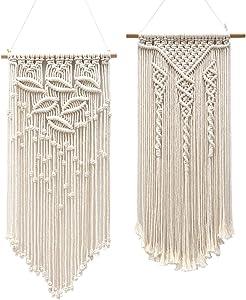DUOER Macrame Woven Wall Hanging Decor Boho 2 Pcs Wall Art Decor Bohemian Crochet Rope Hanging Wall Decorations for Bedroom Living Room