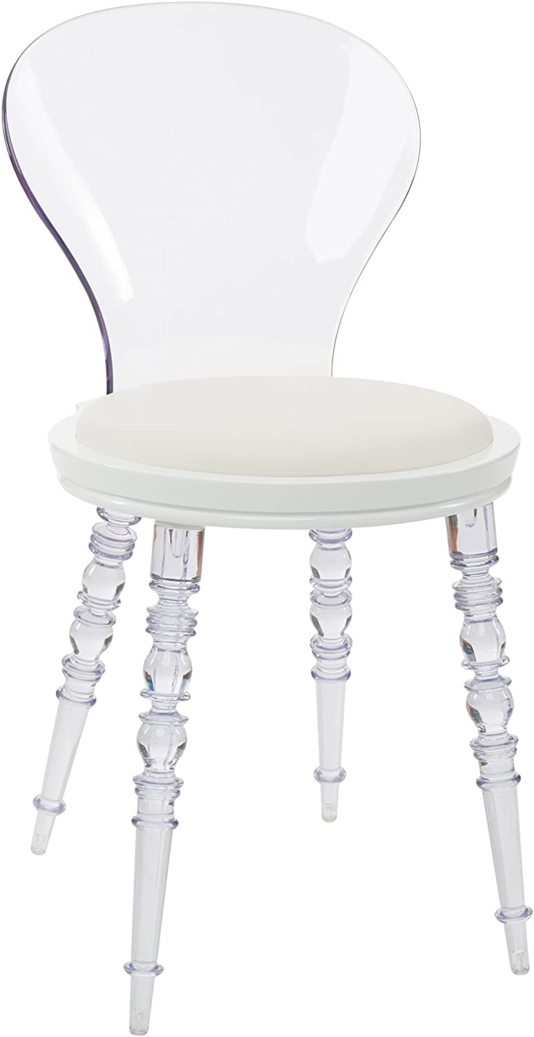 Design Guild Wynona White Cushion Chair with Clear Legs and Back