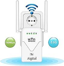 Aigital AC750 Repetidor de Red WiFi Extensor Señal Amplificador Enrutador Inalámbrico Punto Acceso(4 Modos Puerto LAN/WAN, Banda Dual, 300Mbps, 2.4 GHz, 433 Mbps 5GHz WPS)