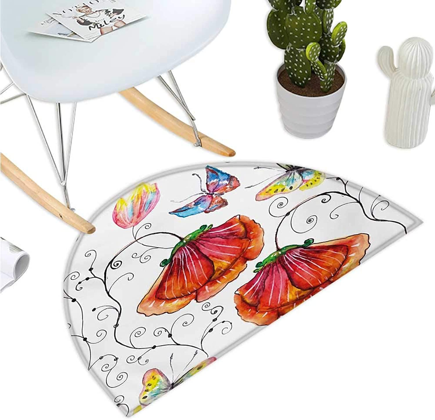 Nature Semicircle Doormat Flowers with Swirled Branches Butterflies in Watercolors Artistic Botanical Summer Halfmoon doormats H 39.3  xD 59  Multicolor