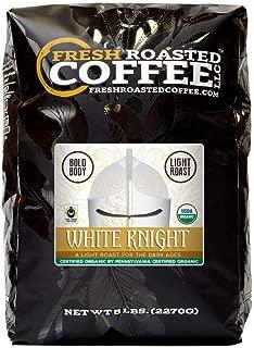 Fresh Roasted Coffee LLC, White Knight Organic Coffee, Artisan Blend, Light Roast, Fair Trade, USDA Organic, Mild Body, Whole Bean, 5 Pound Bag