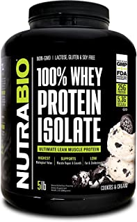 NutraBio 100% Whey Protein Isolate (Cookies and Cream, 5 Pounds)