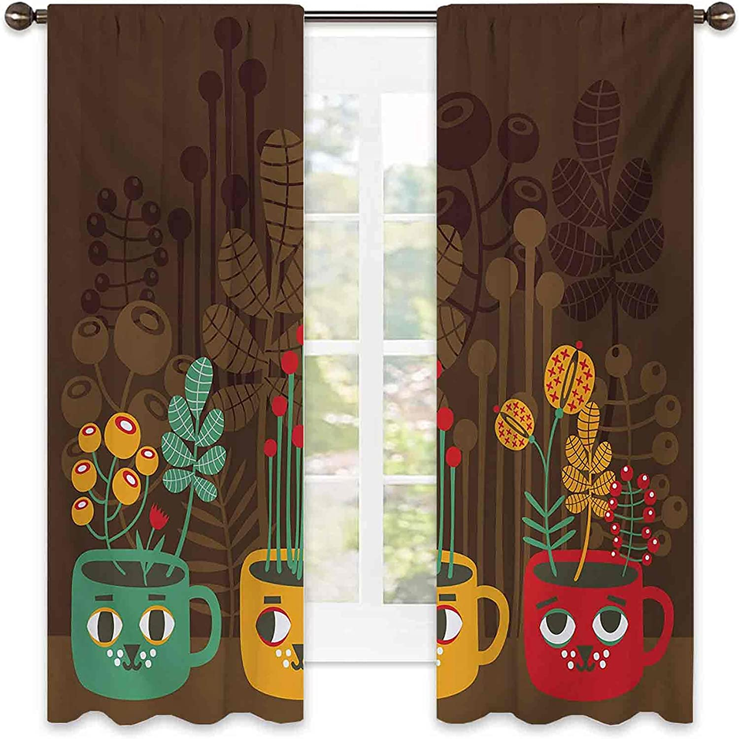 Modern Bedroom Rod Pocket Blackout High quality new Curtains Flowers Cute Plants Japan Maker New