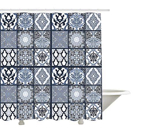 Yeuss ethnischen Duschvorhang,antike arabische orientalische Mosaik mit Ornamenten östlichen geometrischen Fliesen,Stoff-Badezimmer-Dekor-Set mit Haken,dunkelblau,Babyblau,weiß