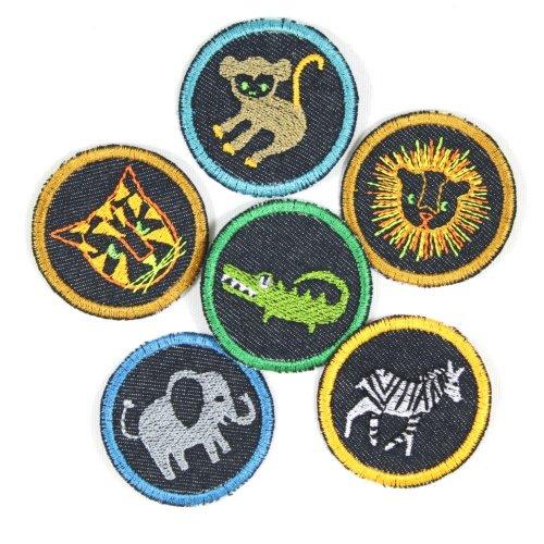 Bügelbilder 6 Tiere Krokodil Affe Elefant Zebra TIger Löwe ø 5cm Flicken zum aufbügeln Set kleine Bügelbilder Aufbügler für Kinder