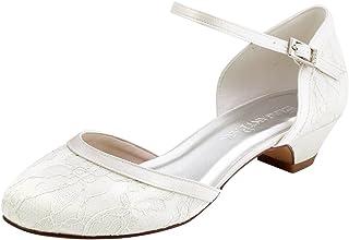Elegantpark HC1620 Femme Escarpins Dendelle Bride Cheville Fermé Toe Talon Bas Chaussures de Mariée Mariage
