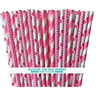 Outside the Box Papers Pink Stripe, Chevron, and Polka Dot Paper Straws 7.75 Inches 75 Pack Pink, White