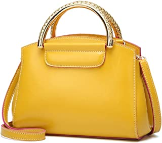 FengheYQ Women's Solid Color PU Leather Zipper Shoulder Bag Handbag Large Capacity Messenger Bag Candy Bag Crossbody Bag Shoulder Bag Size:21 * 11 * 18cm (Color : Yellow)