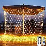 LED Net Lights, 200 LED Fairy String Decorative Mesh 9.8ft x 6.6ft Warm White USB Lights Waterproof for Christmas Outdoor Wedding Garden Decorations - Obbsen
