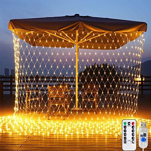 Lichtervorhang Netz, Lichterkette Lichtervorhang Weihnachten USB 3*2M 200LEDs Lichterkette Warmweiß für Weihnachten Party Schlafzimmer Innen und Außen Deko -ELECOND