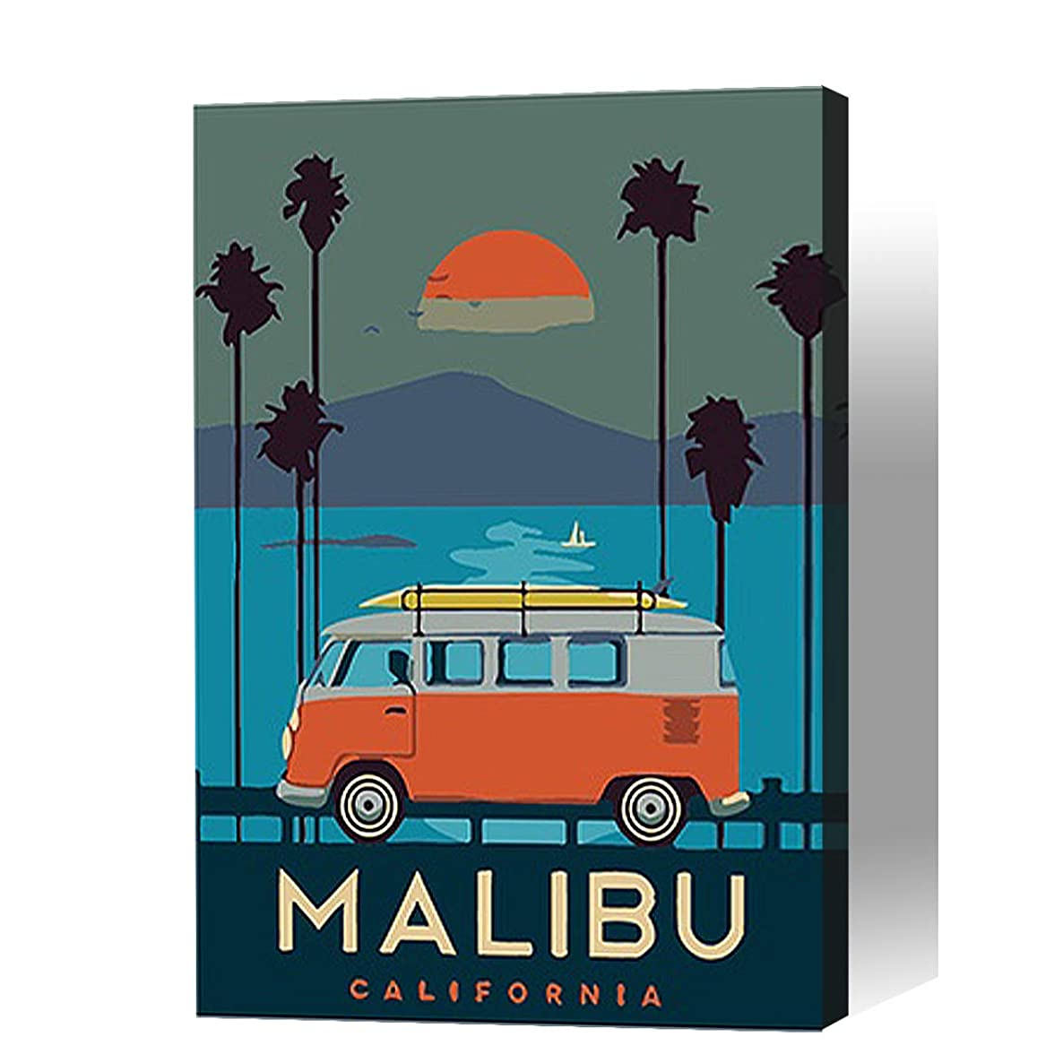 【Wooden Framed】Paint By Numbers for Kids / Adults Beginner --Handmade Gift Poster(MALIBU Charm Landscape /DIY /12