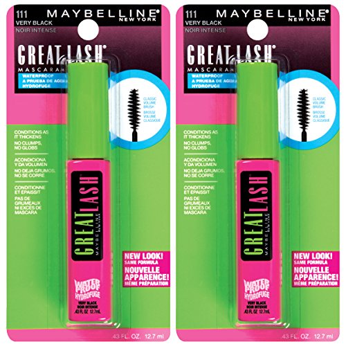 Maybelline New York Great Lash Waterproof Mascara Makeup, Very Black, 2 Count
