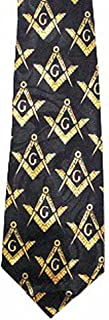 Masonic Neck Tie - Black and Yellow Polyester long tie with duplicated Compass & Square Masonic pattern design for Freemasons