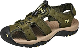 Outdoor Mens Leather Flats Casual Beach Athletic Shoes Breathable Sport Sandals