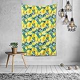 N/A Tapiz de acuarela con diseño de ramas de limón, frutas y hojas, decoración de pared, mandala playa, colcha intrincada india, tapiz de 101 x 152 cm