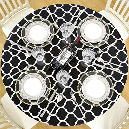 Lifesmells Indoor Outdoor Patio Round Fitted Vinyl Tablecloth,Great for Xmas/Parties/Home,Oil&Waterproof Wipeable,Flannel Backed&Elastic Edge,Black Moroccan Trellis Patterns for 6-Seat Table of 45-56'