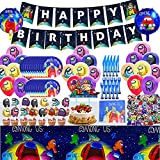 163 pcs Birthday Party Supplies Set,Party Decorations Included cake plates,dinner plates,forks, knives,napkins,cake topper,cupcake Topper,Latex Balloons,Foil Balloons, stickers,Happy Birthday Banner