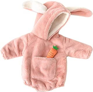 Xifamniy Infant Babies Romper Thicken Rabbit Shape Design Hooded Triangle Jumpsuit