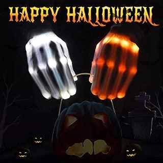 VAZILLIO Flashing LED Skeleton Gloves Light up Glowing Finger Toys, Horrific Halloween Costume for Boys/Girls/Tween/Teens, Novelty Gift for Kids, Cool Décor for Party/Camping/Biking/EDM/Light Show, M