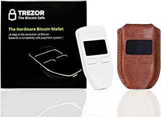 Trezor Crypto Hardware wallet (White) with CryptoHWwallet Brown Protective Leather case Gift set in retail box includes dust bag