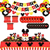 Mouse Themed Party Supplies ,Mouse Birthday Decorations,Mouse Birthday Banner,Garland,Knives,Forks,Spoon,Paper Plates,Tablecloth,Mouse Balloons,Cake Toppers Photo Prop for Boys Girls Baby Bday (130pcs)