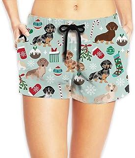 ドキシークリスマス生地ダックスフント犬生地クリスマスホリデー犬Design_41 ショートパンツ レディース おしゃれ フィットネスパンツ スポーツ 短パン ビーチパンツ ランニング 水着 サーフパンツ XL