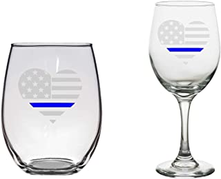 Thin Blue Line Wine Glass, Police Wife, Police Girlfriend Gift, Female Police Officer