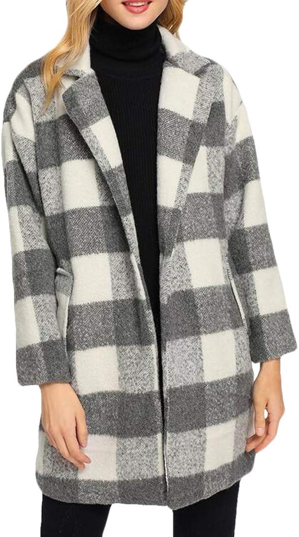 BLTR Women Notched Lapel Check Plaid Wool Blend Pea Coat Jacket