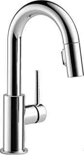 Delta Faucet Trinsic Single-Handle Bar-Prep Kitchen Sink Faucet with Pull Down Sprayer and Magnetic Docking Spray Head, Ch...