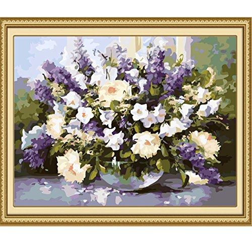Hjuns™ DIY peinture à l'huile sans bordure peinture numérique romantique lavande fleur vase décoration mur salle à manger Salon