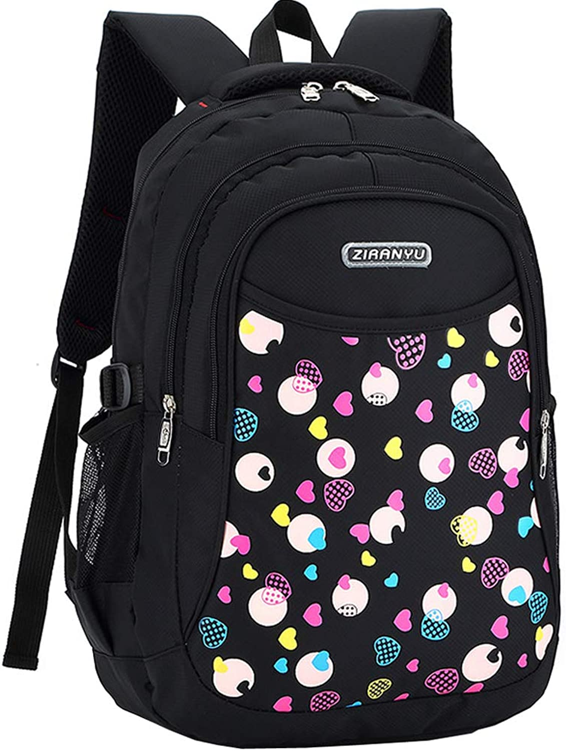 Backpack  Primary Students Girls Sweet Printing High Quality Durable Bookbag Backpack (Black)