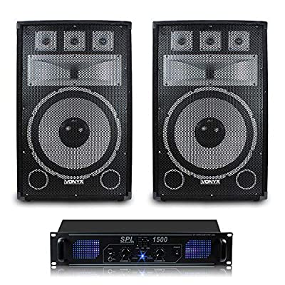 Pair of Vonyx TX15 15 Inch DJ PA Speakers with Amplifier 1000W