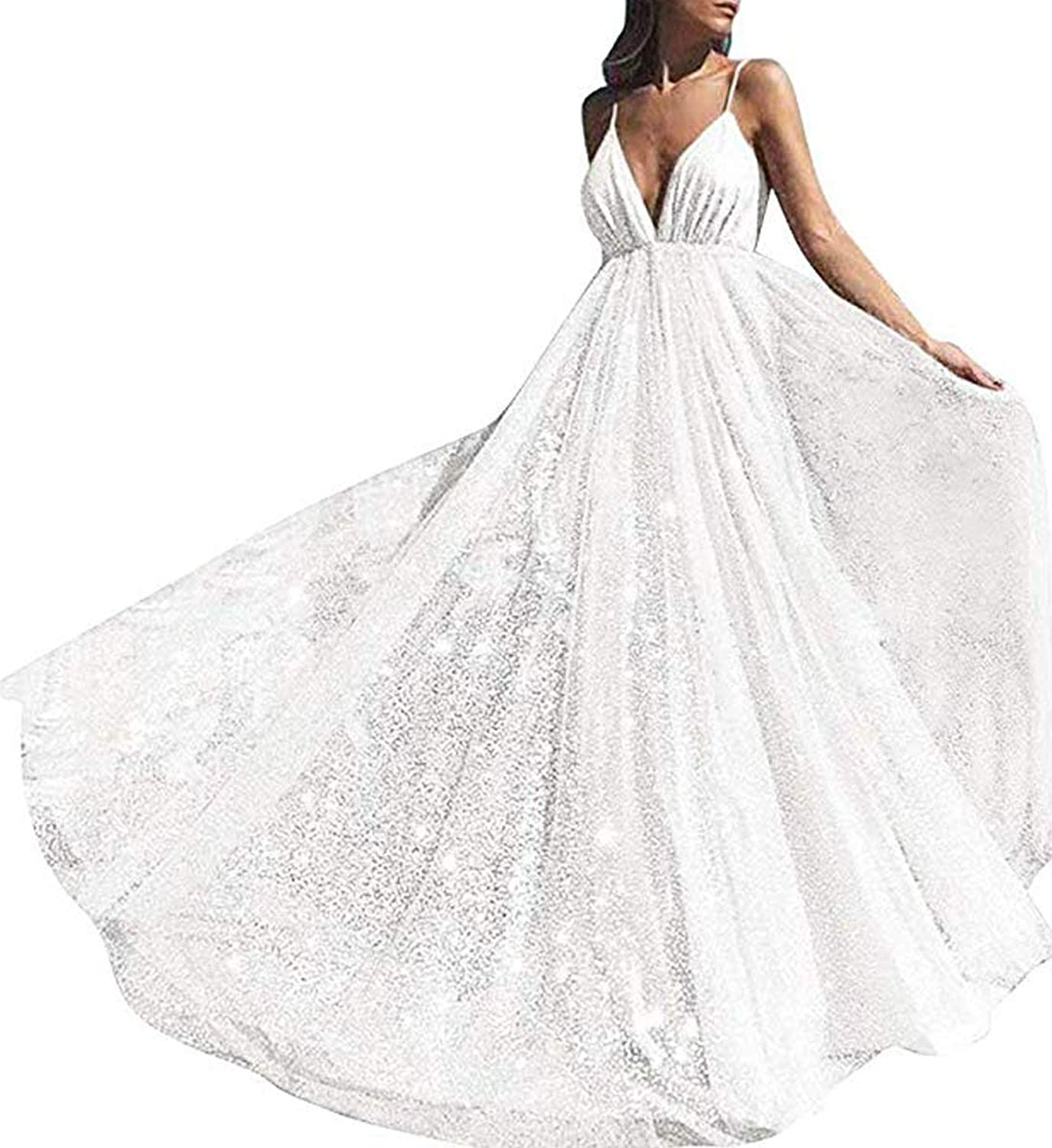 Modeldress Women's Deep VNeck Sparkling Prom Dresses Backless Tulle Evening Gown Party Gowns 2019