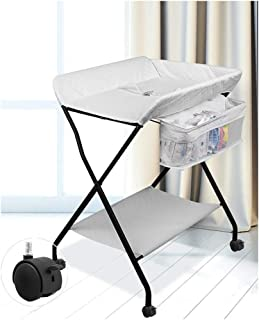 3 Colors-Bed Bath Changing Diaper Wet Newborn Baby Mobile Nursery Organizer Adjustable Height With Wheels, Baby Changing Stations Baby Products Diaper Table Baby Care Table Touching Portable Foldable