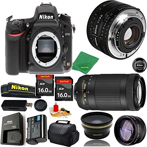 Great Value Bundle for D750 DSLR – 50MM 1.8D + 70-300MM AF-P + 2PCS 16GB Memory + Wide Angle + Telephoto Lens + Case