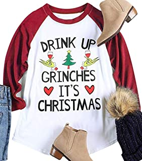 NENDFY Drink Up Grinches It's Christmas Funny Shirt Women's Letters Graphic 3/4 Sleeve Raglan Sleeve Baseball Tops Tees