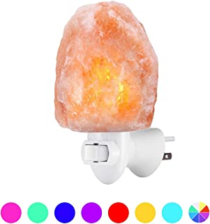[2 Bulbs] Natural Himalayan Salt Lamp, Plug in Hand Carved Crystal Night Light, Best Bedroom, Living Room, Kitchen, Hallway Wall Light