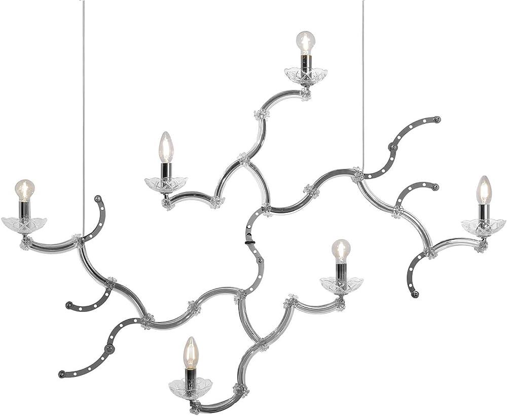 Karman ghebo, lampada a sospensione con 6 sorgenti luminose, in metallo cromato e vetro SE1461C INT