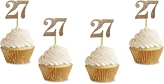 """20 Pack of Number 27"""" Cupcake Toppers Glitter Rose Gold 27th Birthday Party Anniversary Party Cupcake Toppers"""