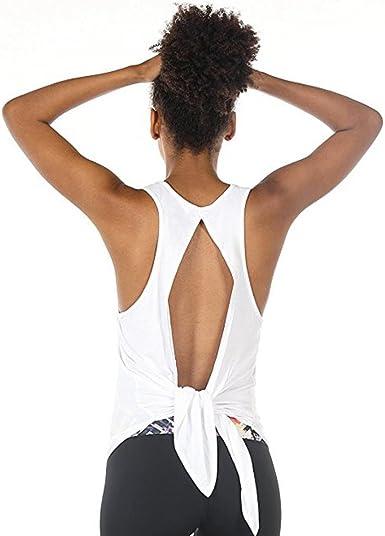 Chaleco Espalda Descubierta con Cordones Casual Mujer LHWY, Camisetas Cuello Redondo Color SóLido Sin Mangas Yoga Ropa Verano