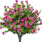 Flores artificiales de plástico falsas para exteriores, resistentes a los rayos UV, arbustos de...