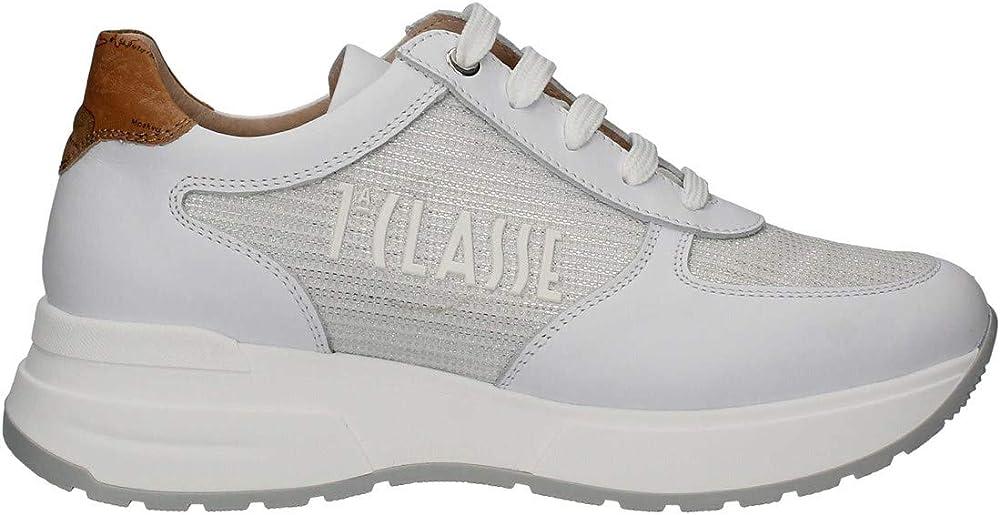 Alviero martini, scarpe da donna casual, sneakers bianco, in pelle e tessuto p21..0939 1196.w029.3 P21..0939 1196.W029.36A