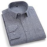 Camisas Manga Larga Hombre,Camisa A Cuadros De Algodón Camisas Casuales Camisas Clásicas A Cuadros Gris Oscuro para Hombre Camisas Regulares con Botones De Bolsillo Tops Pad
