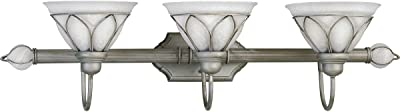 Progress Lighting P3251-44 Three-Light Fixture with Etched Alabaster Style Glass, Oxford