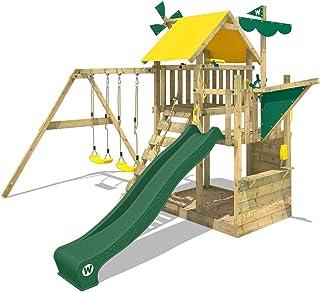 WICKEY Parque infantil de madera Smart Aviator Torre de escalada Casa de juegos jardín con cajón de arena grande, columpio y tobogán