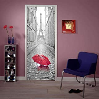 Samlong 3D Door Stickers Murals, Self-Adhesive Door Decals, 3D Wall Sticker Reusable Wallpaper - EiffelTower